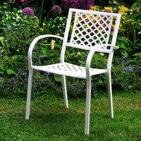 JANE silla blanca para jardín metálica apilable