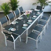 VIOLET Mesa - Blanco & Gris (10 sillas)