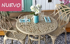 JILL - Conjunto comedor de 4 puestos mesa redonda en aluminio con 4 sillas color Arena